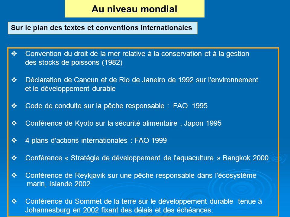 Au niveau mondial Sur le plan des textes et conventions internationales. Convention du droit de la mer relative à la conservation et à la gestion.