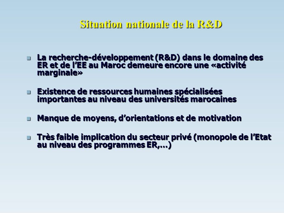 Situation nationale de la R&D