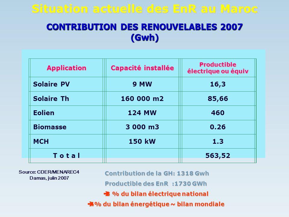 CONTRIBUTION DES RENOUVELABLES 2007 (Gwh)