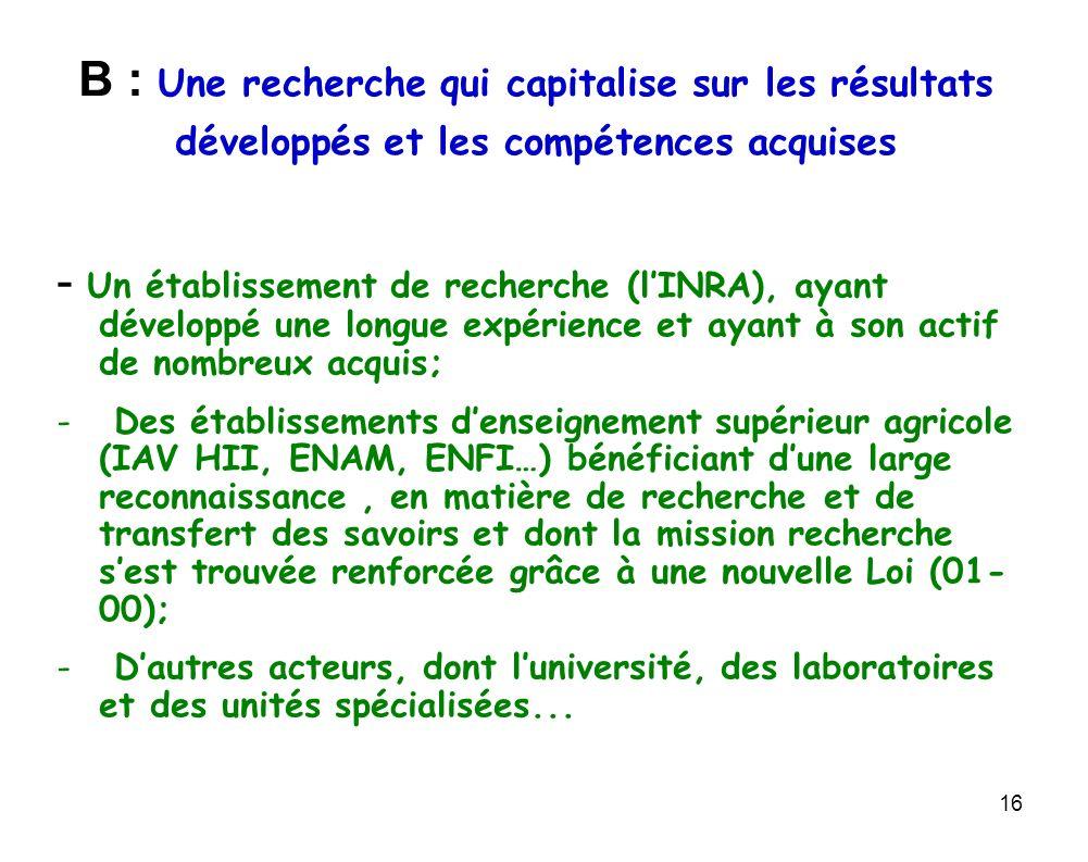 B : Une recherche qui capitalise sur les résultats développés et les compétences acquises