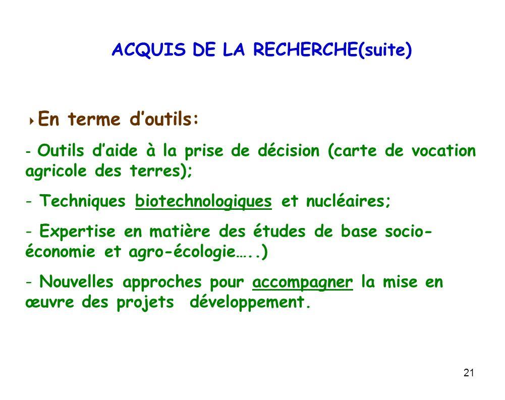 ACQUIS DE LA RECHERCHE(suite)