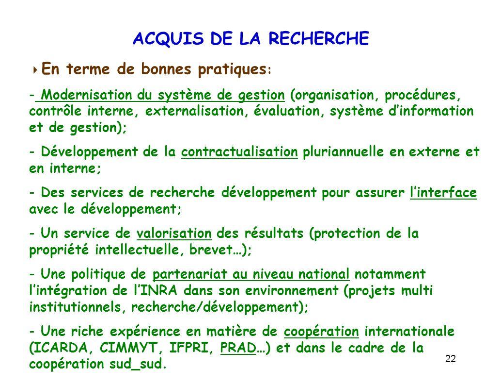 ACQUIS DE LA RECHERCHE En terme de bonnes pratiques:
