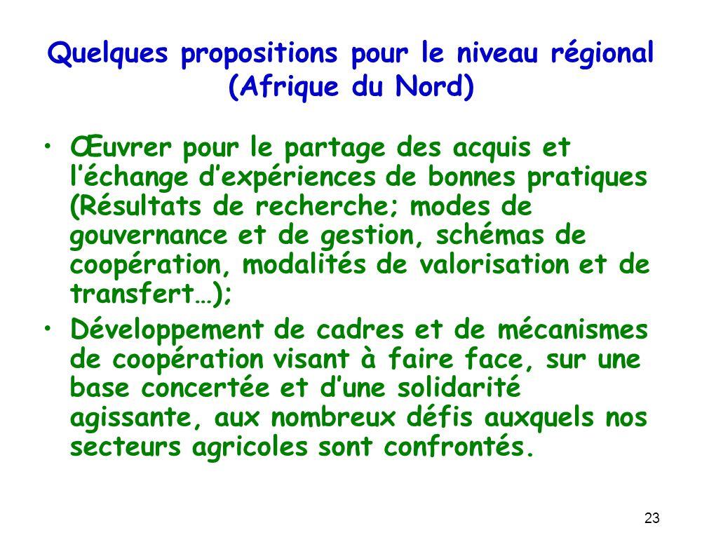 Quelques propositions pour le niveau régional (Afrique du Nord)