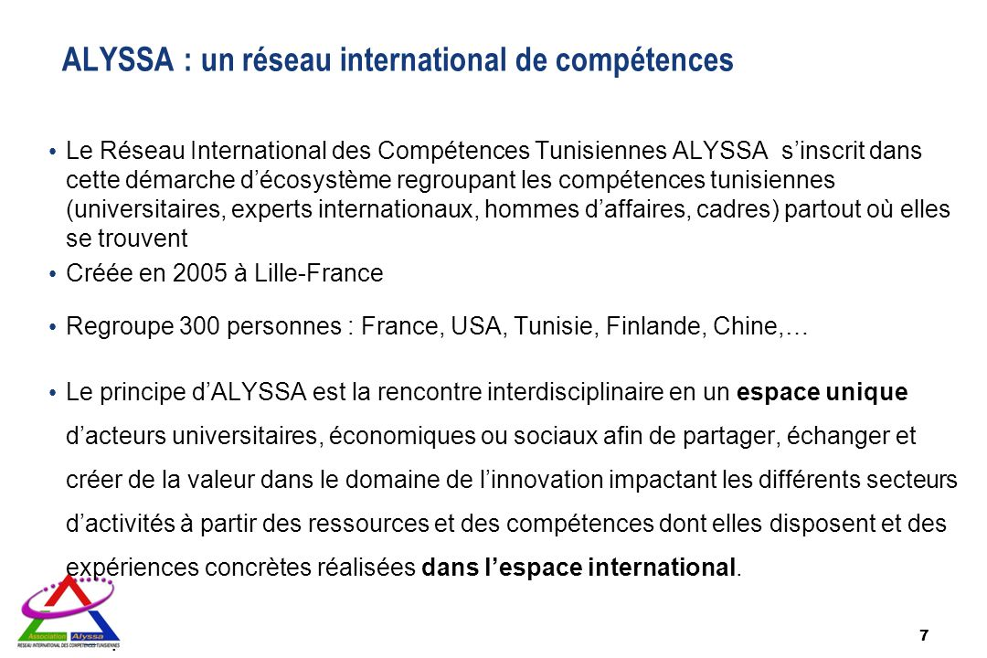 ALYSSA : un réseau international de compétences