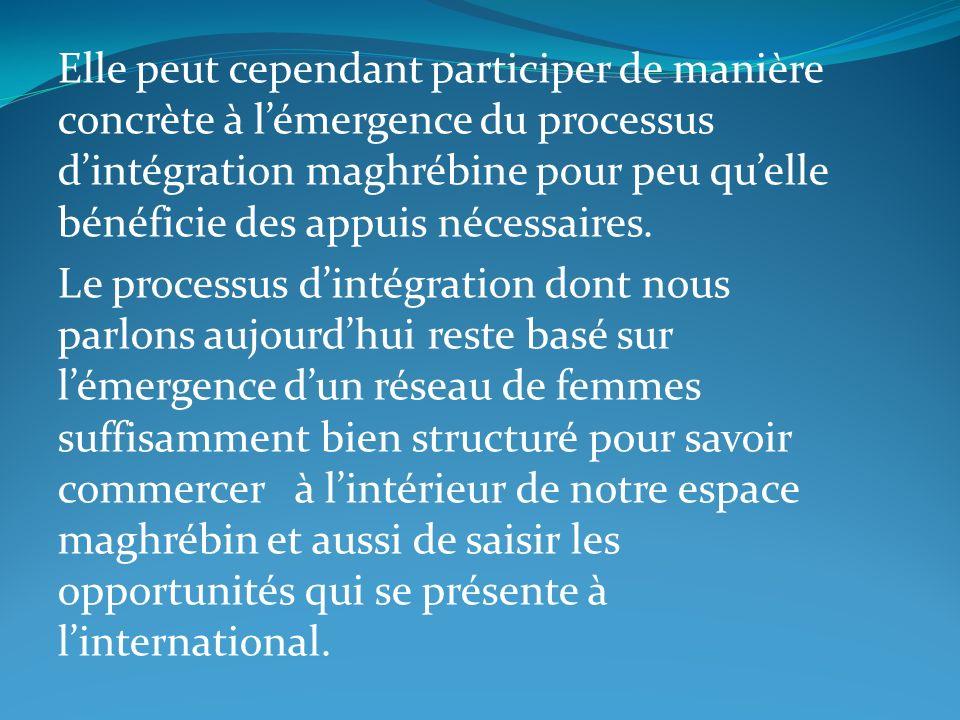 Elle peut cependant participer de manière concrète à l'émergence du processus d'intégration maghrébine pour peu qu'elle bénéficie des appuis nécessaires.