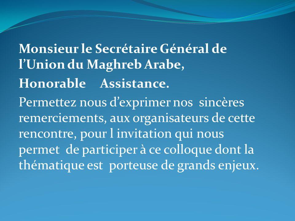 Monsieur le Secrétaire Général de l'Union du Maghreb Arabe,