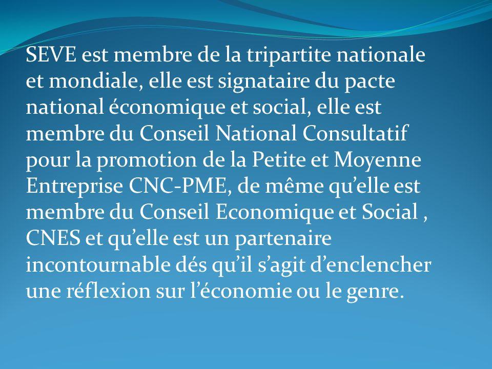 SEVE est membre de la tripartite nationale et mondiale, elle est signataire du pacte national économique et social, elle est membre du Conseil National Consultatif pour la promotion de la Petite et Moyenne Entreprise CNC-PME, de même qu'elle est membre du Conseil Economique et Social , CNES et qu'elle est un partenaire incontournable dés qu'il s'agit d'enclencher une réflexion sur l'économie ou le genre.