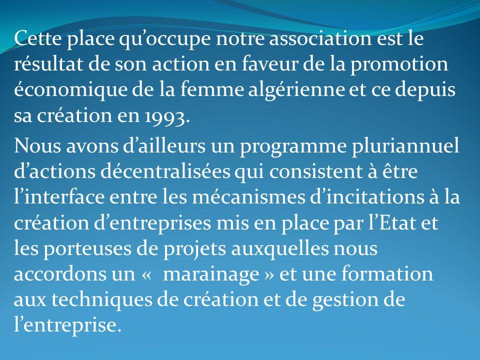 Cette place qu'occupe notre association est le résultat de son action en faveur de la promotion économique de la femme algérienne et ce depuis sa création en 1993.