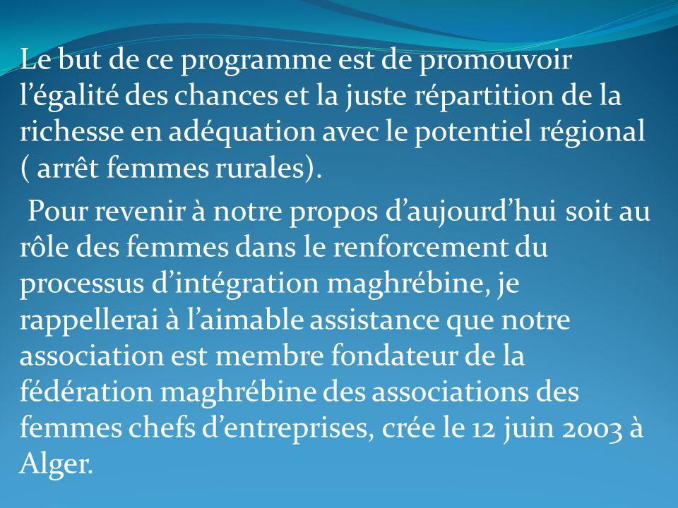 Le but de ce programme est de promouvoir l'égalité des chances et la juste répartition de la richesse en adéquation avec le potentiel régional ( arrêt femmes rurales).