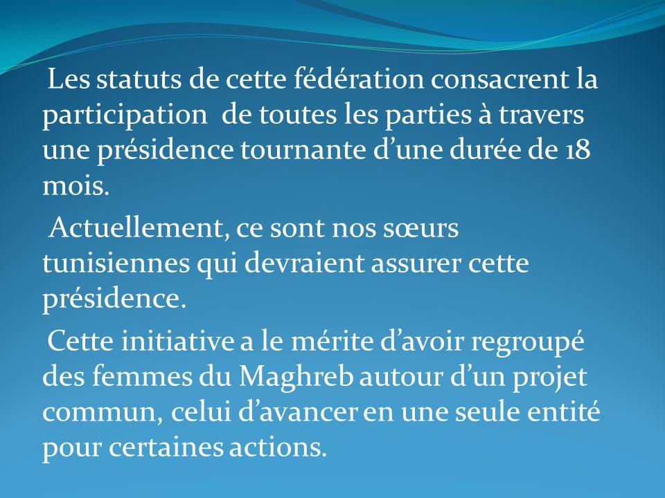 Les statuts de cette fédération consacrent la participation de toutes les parties à travers une présidence tournante d'une durée de 18 mois.