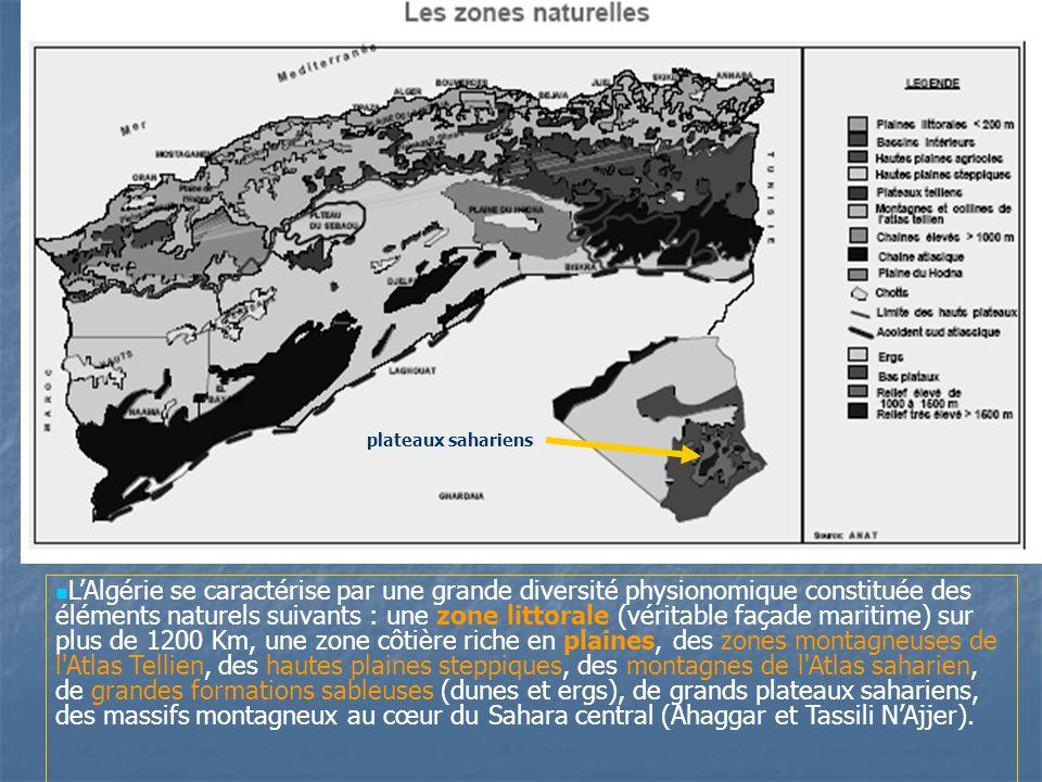 L'Algérie se caractérise par une grande diversité physionomique constituée des éléments naturels suivants : une zone littorale (véritable façade maritime) sur plus de 1200 Km, une zone côtière riche en plaines, des zones montagneuses de l Atlas Tellien, des hautes plaines steppiques, des montagnes de l Atlas saharien, de grandes formations sableuses (dunes et ergs), de grands plateaux sahariens, des massifs montagneux au cœur du Sahara central (Ahaggar et Tassili N'Ajjer).