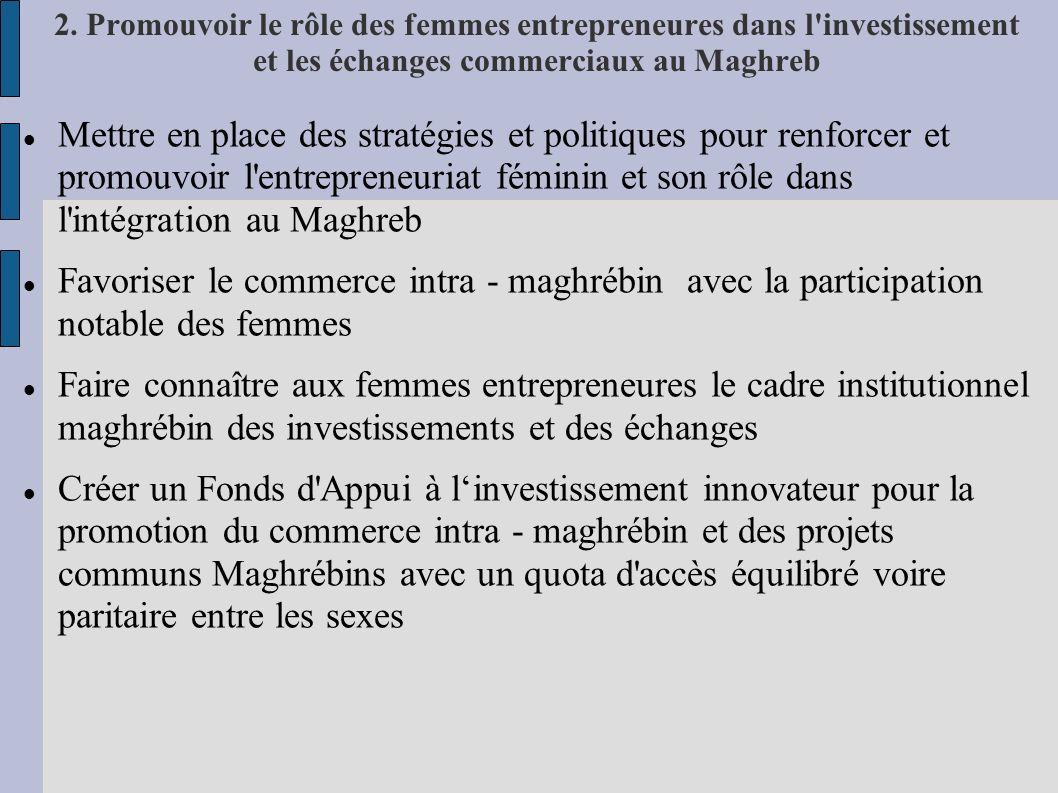 2. Promouvoir le rôle des femmes entrepreneures dans l investissement et les échanges commerciaux au Maghreb