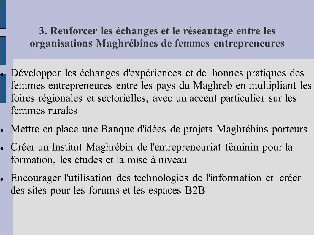 3. Renforcer les échanges et le réseautage entre les organisations Maghrébines de femmes entrepreneures