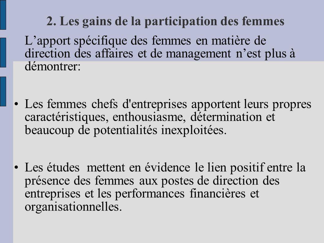 2. Les gains de la participation des femmes