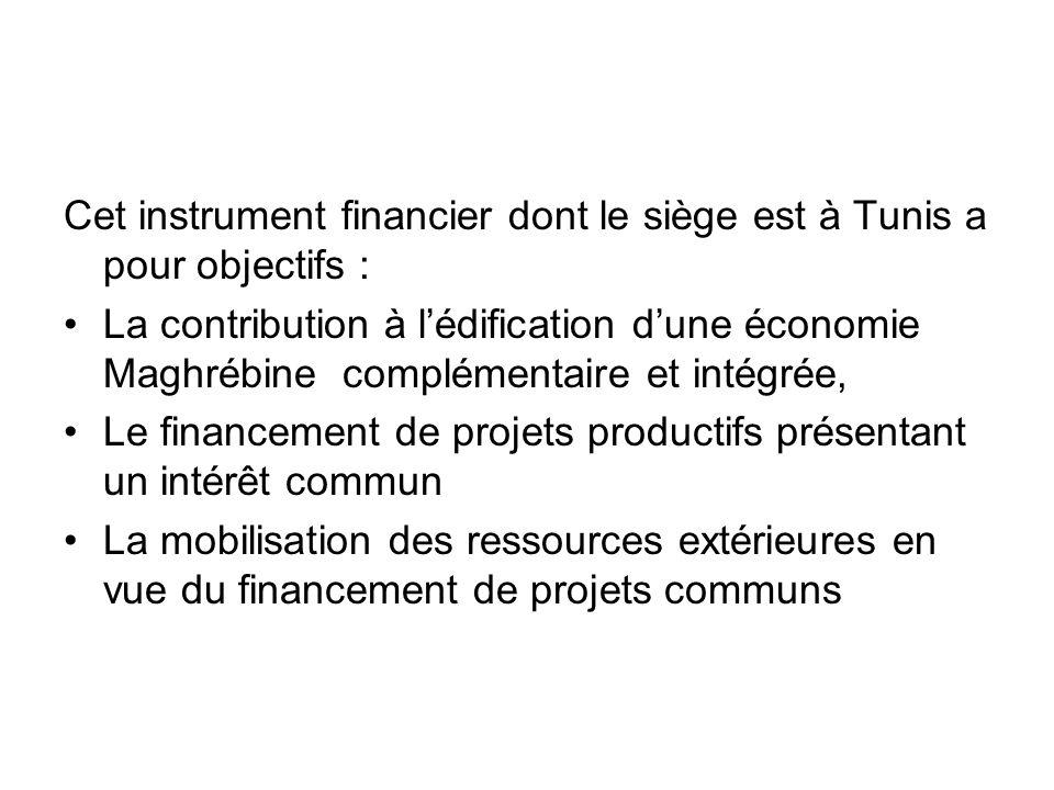 Cet instrument financier dont le siège est à Tunis a pour objectifs :