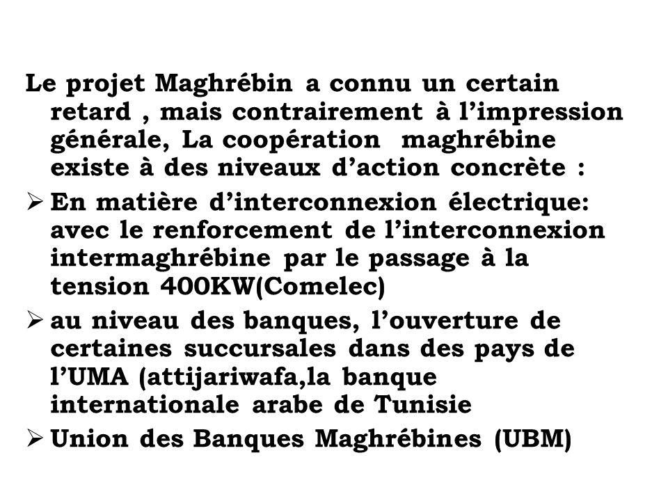 Le projet Maghrébin a connu un certain retard , mais contrairement à l'impression générale, La coopération maghrébine existe à des niveaux d'action concrète :