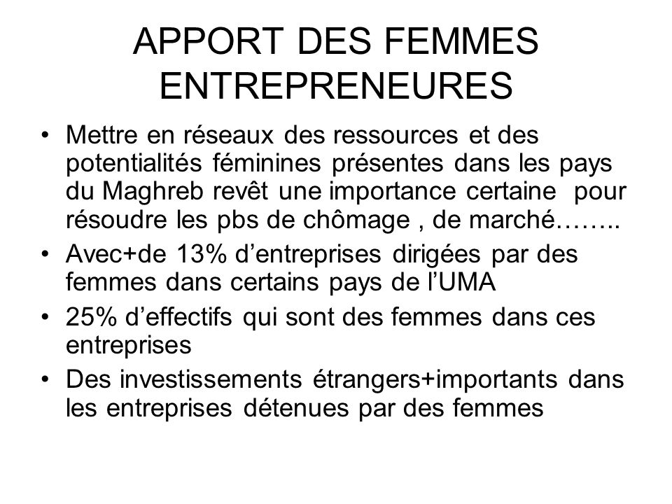 APPORT DES FEMMES ENTREPRENEURES