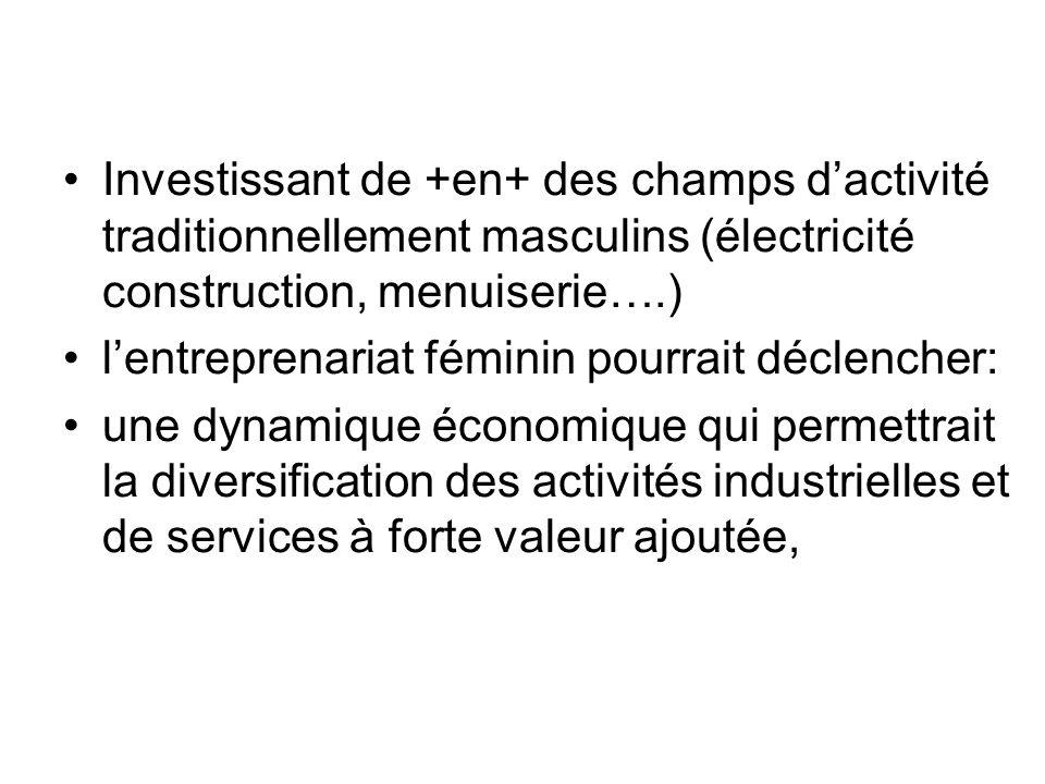 Investissant de +en+ des champs d'activité traditionnellement masculins (électricité construction, menuiserie….)
