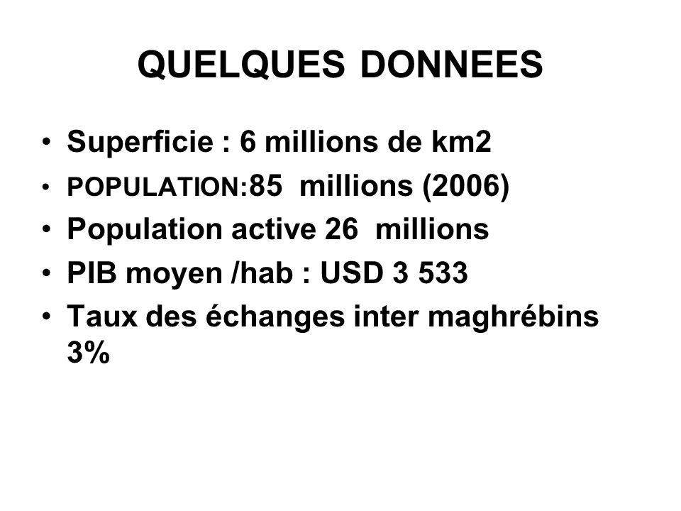 QUELQUES DONNEES Superficie : 6 millions de km2