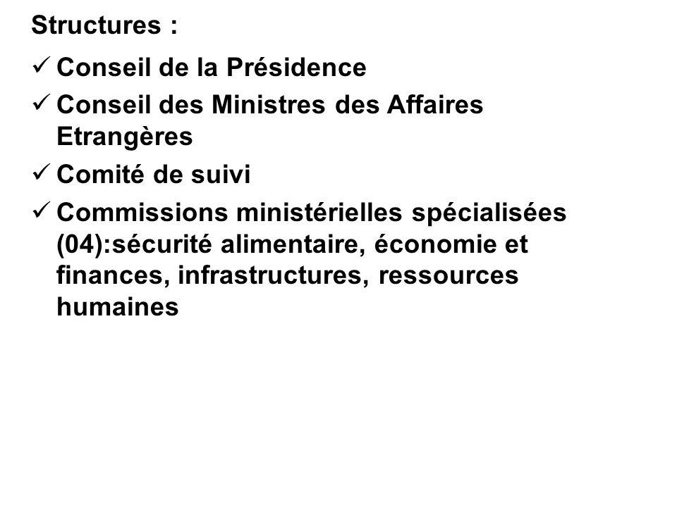 Structures : Conseil de la Présidence. Conseil des Ministres des Affaires Etrangères. Comité de suivi.
