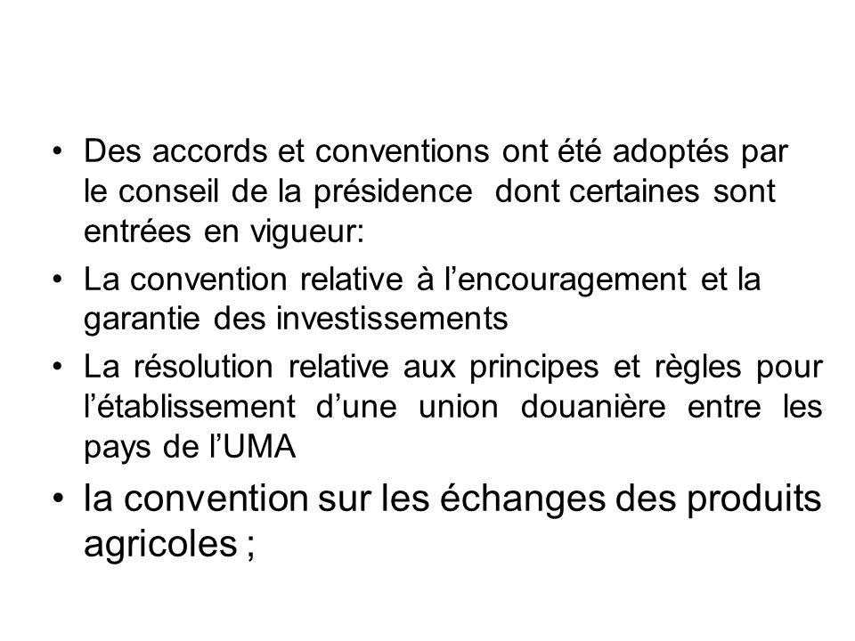 la convention sur les échanges des produits agricoles ;
