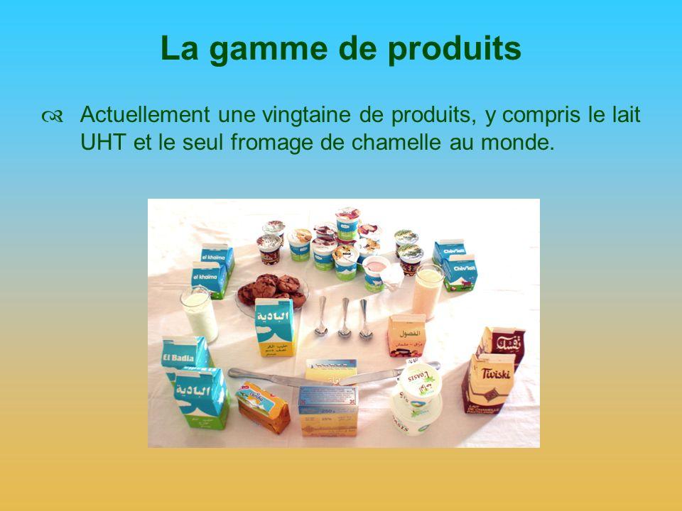 La gamme de produits Actuellement une vingtaine de produits, y compris le lait UHT et le seul fromage de chamelle au monde.
