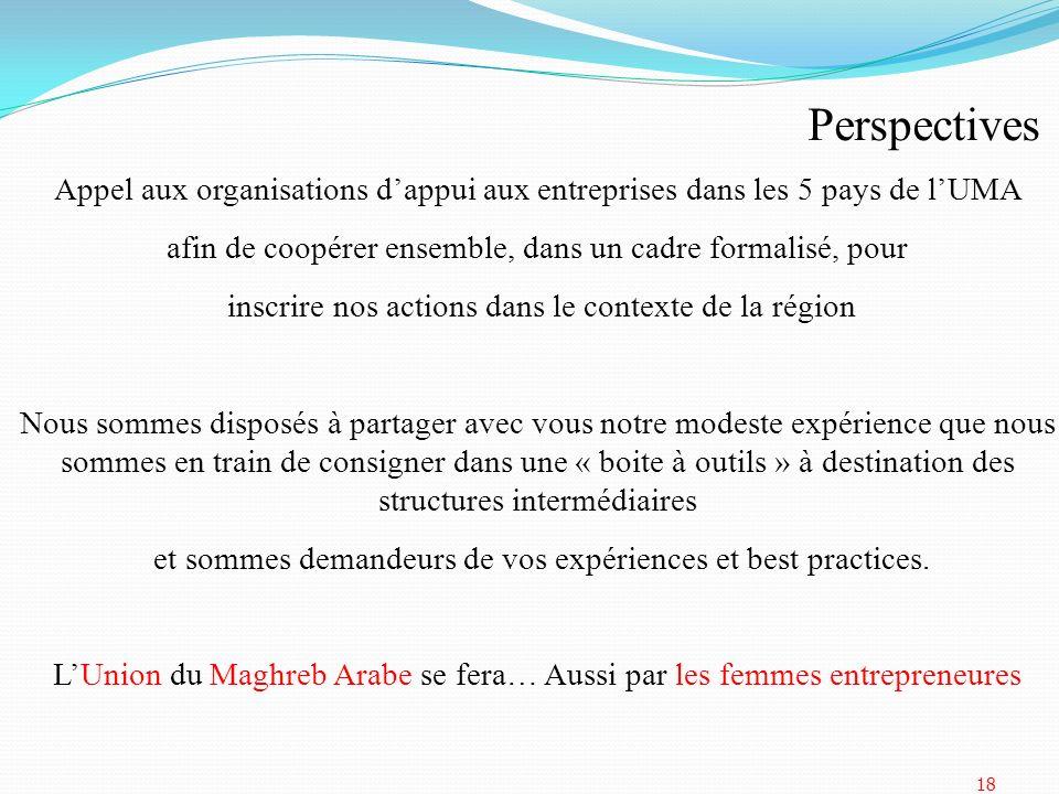PerspectivesAppel aux organisations d'appui aux entreprises dans les 5 pays de l'UMA. afin de coopérer ensemble, dans un cadre formalisé, pour.