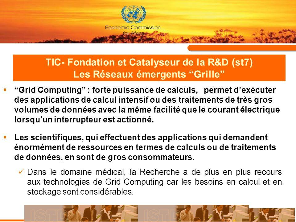 TIC- Fondation et Catalyseur de la R&D (st7) Les Réseaux émergents Grille