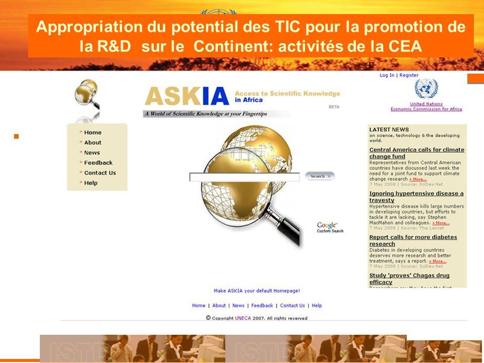 Appropriation du potential des TIC pour la promotion de la R&D sur le Continent: activités de la CEA