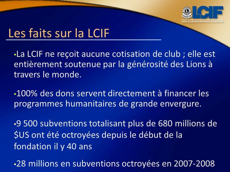 Les faits sur la LCIFLa LCIF ne reçoit aucune cotisation de club ; elle est entièrement soutenue par la générosité des Lions à travers le monde.