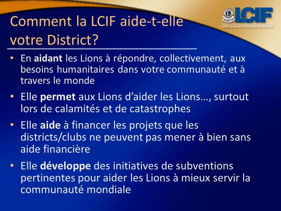 Comment la LCIF aide-t-elle votre District
