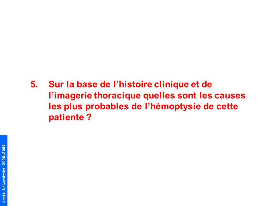 Sur la base de l'histoire clinique et de l'imagerie thoracique quelles sont les causes les plus probables de l'hémoptysie de cette patiente