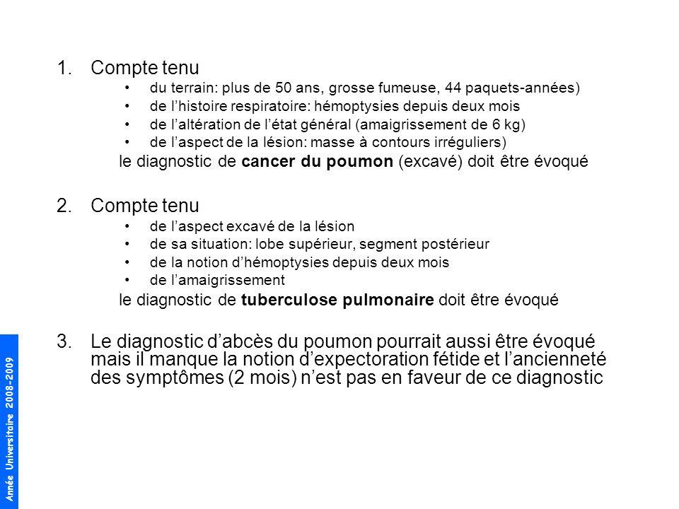 Compte tenu du terrain: plus de 50 ans, grosse fumeuse, 44 paquets-années) de l'histoire respiratoire: hémoptysies depuis deux mois.