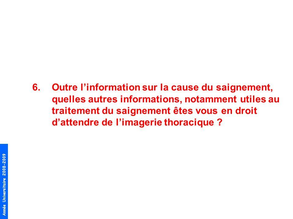 Outre l'information sur la cause du saignement, quelles autres informations, notamment utiles au traitement du saignement êtes vous en droit d'attendre de l'imagerie thoracique
