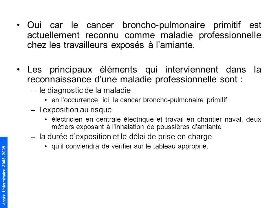 Oui car le cancer broncho-pulmonaire primitif est actuellement reconnu comme maladie professionnelle chez les travailleurs exposés à l'amiante.