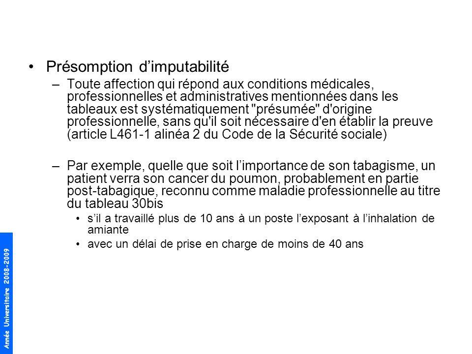 Présomption d'imputabilité