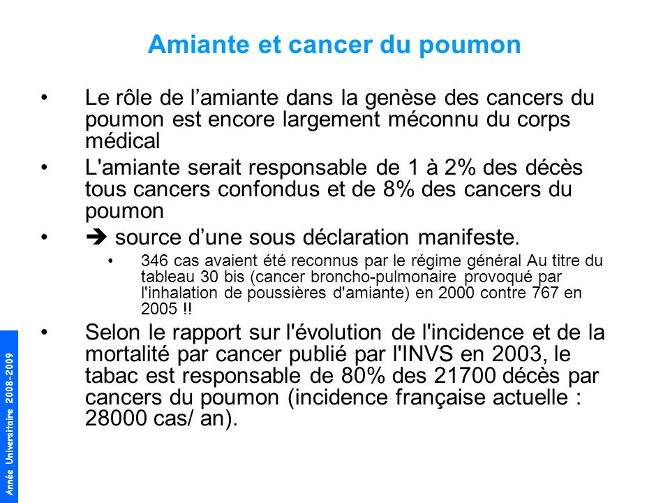 Amiante et cancer du poumon
