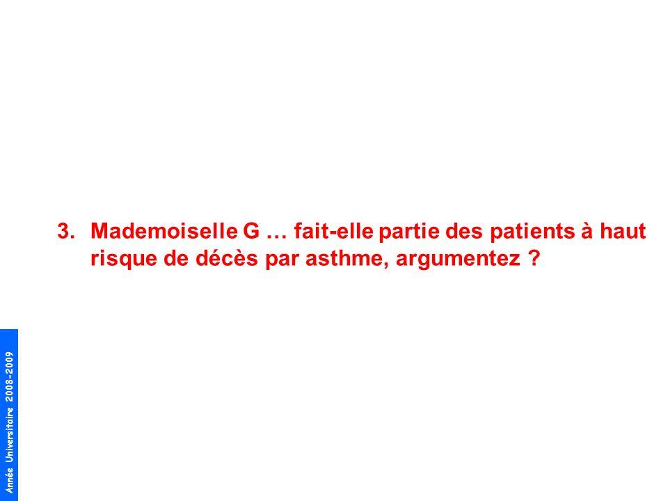 Mademoiselle G … fait-elle partie des patients à haut risque de décès par asthme, argumentez