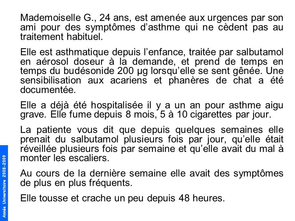 Mademoiselle G., 24 ans, est amenée aux urgences par son ami pour des symptômes d'asthme qui ne cèdent pas au traitement habituel.