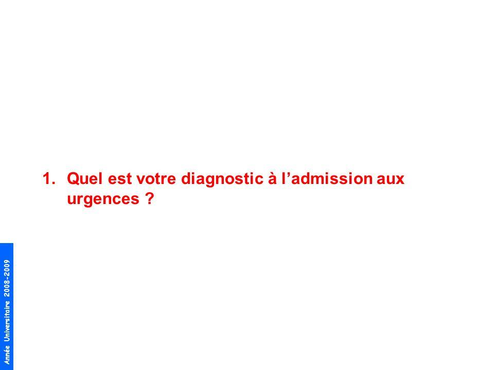 Quel est votre diagnostic à l'admission aux urgences