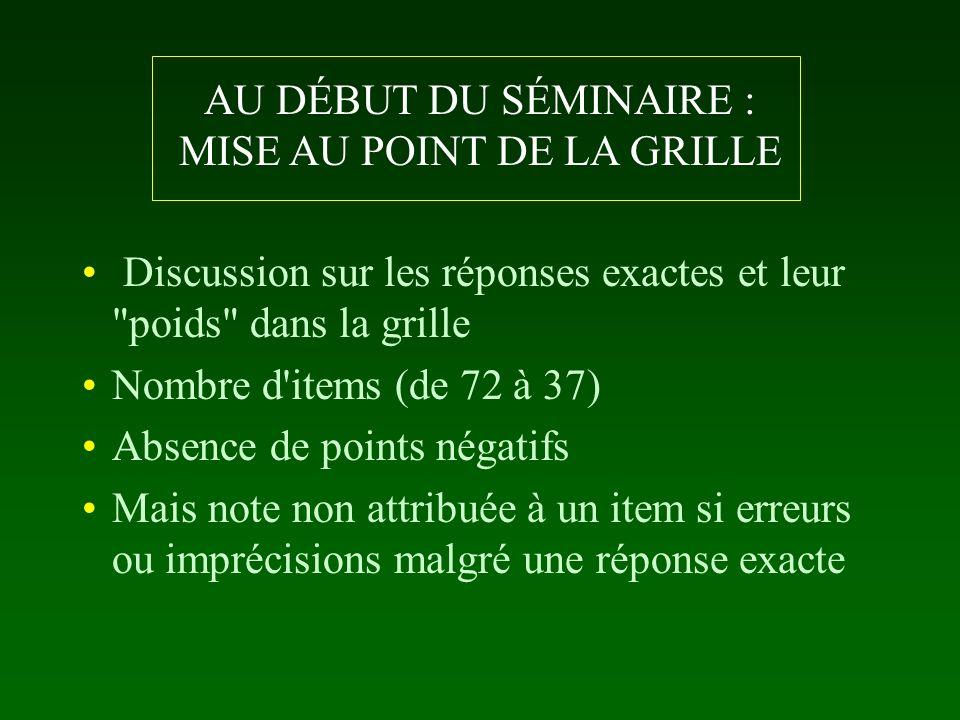 AU DÉBUT DU SÉMINAIRE : MISE AU POINT DE LA GRILLE