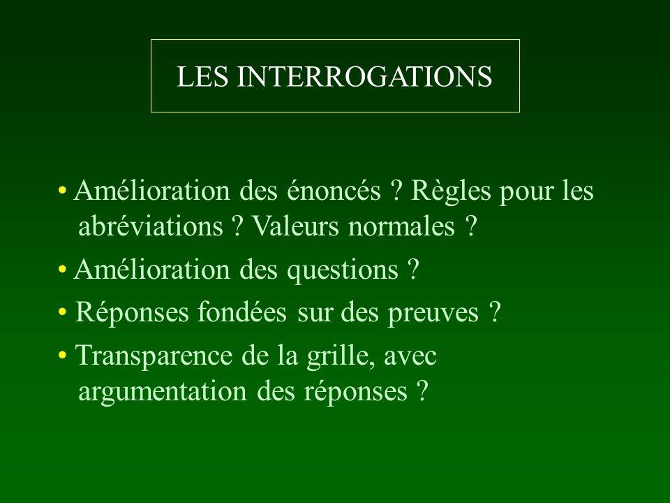 LES INTERROGATIONS Amélioration des énoncés Règles pour les abréviations Valeurs normales