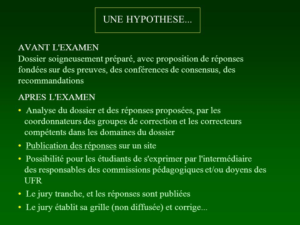 UNE HYPOTHESE... AVANT L EXAMEN