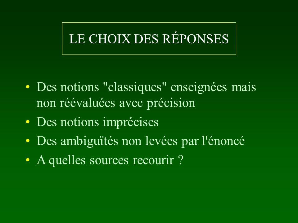 LE CHOIX DES RÉPONSES Des notions classiques enseignées mais non réévaluées avec précision. Des notions imprécises.