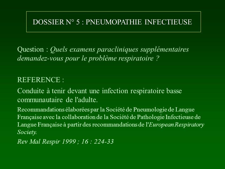 DOSSIER N° 5 : PNEUMOPATHIE INFECTIEUSE