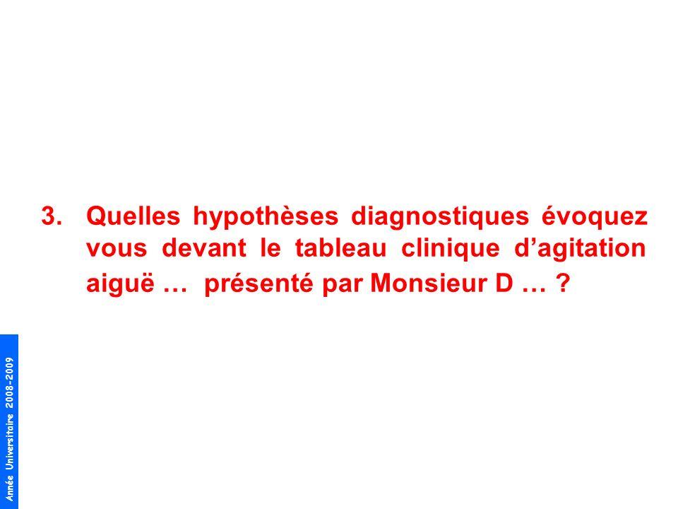 Quelles hypothèses diagnostiques évoquez vous devant le tableau clinique d'agitation aiguë … présenté par Monsieur D …