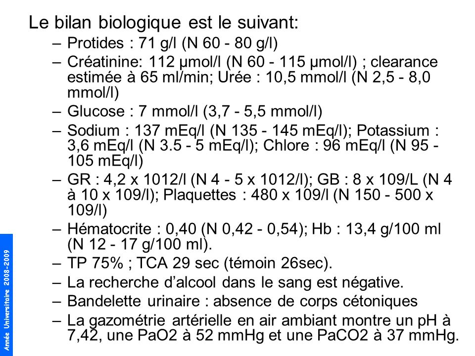 Le bilan biologique est le suivant:
