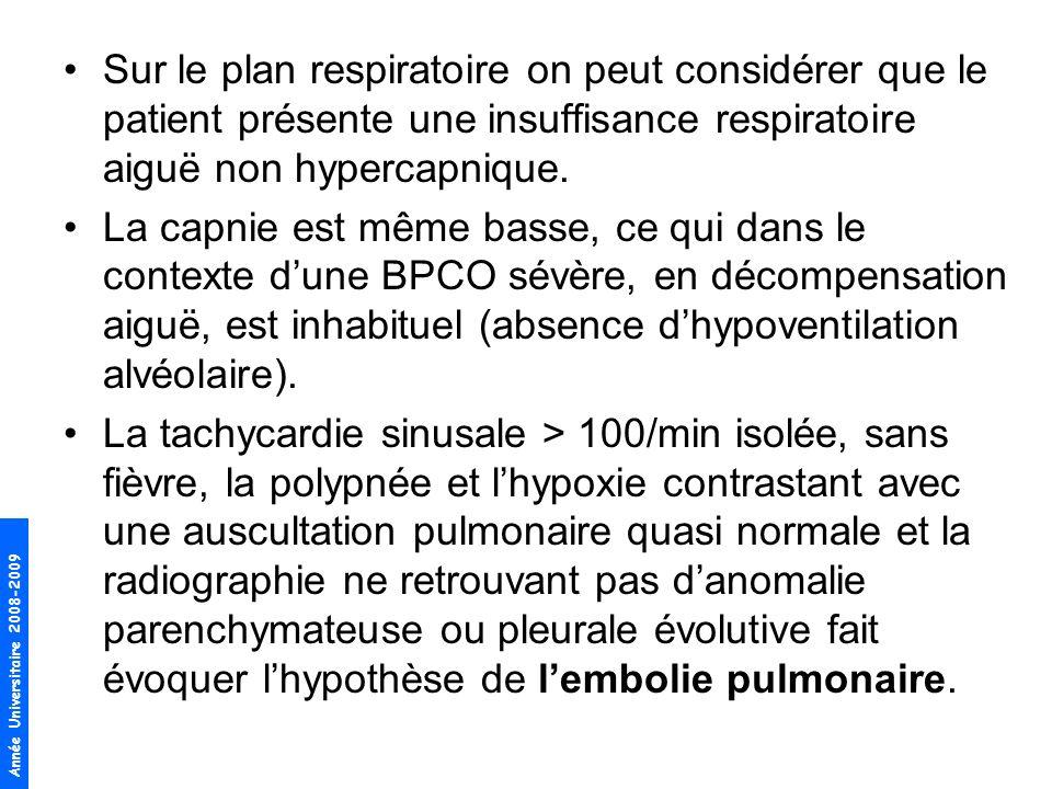 Sur le plan respiratoire on peut considérer que le patient présente une insuffisance respiratoire aiguë non hypercapnique.