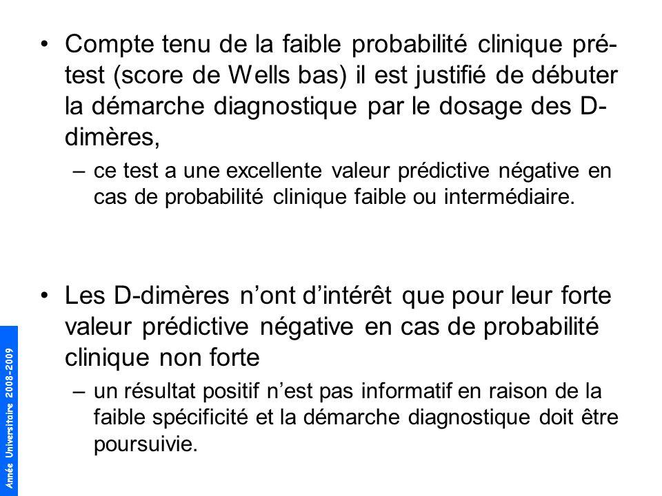 Compte tenu de la faible probabilité clinique pré-test (score de Wells bas) il est justifié de débuter la démarche diagnostique par le dosage des D-dimères,