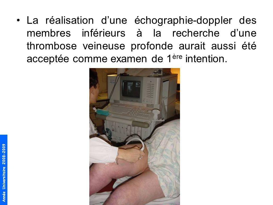 La réalisation d'une échographie-doppler des membres inférieurs à la recherche d'une thrombose veineuse profonde aurait aussi été acceptée comme examen de 1ère intention.
